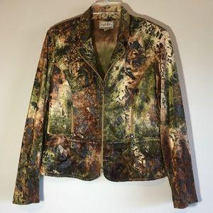Vintage Ribkoff Blazer Velvet Jacket Tie Dyed Top